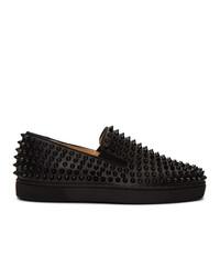 Zapatillas slip-on de cuero negras de Christian Louboutin