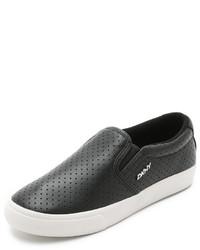 Zapatillas slip-on de cuero negras de DKNY