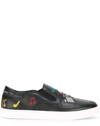 Zapatillas Slip-on de Cuero Negras de Dolce & Gabbana
