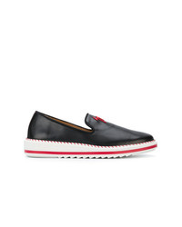 Zapatillas slip-on de cuero negras de Giuseppe Zanotti Design