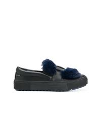 Zapatillas slip-on de cuero negras de Karl Lagerfeld