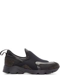 Zapatillas slip-on de cuero negras de MM6 MAISON MARGIELA