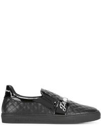 Zapatillas slip-on de cuero negras de Philipp Plein