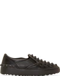 Zapatillas slip-on de cuero negras de Valentino