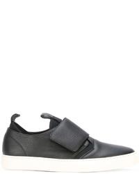 Zapatillas slip-on de cuero negras de Z Zegna