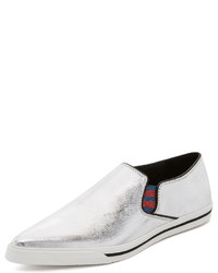 Zapatillas slip-on de cuero plateadas de Marc Jacobs