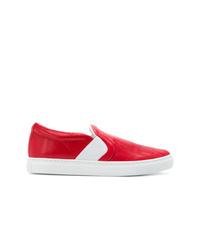 Zapatillas slip-on de cuero rojas de Lanvin