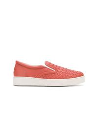 Zapatillas slip-on de cuero rosa de Bottega Veneta