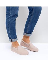 Zapatillas slip-on de cuero rosadas de ASOS DESIGN