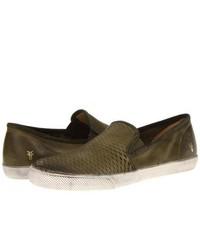 Zapatillas slip-on de cuero verde oliva