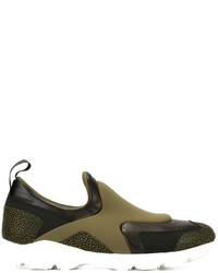 Zapatillas slip-on de cuero verde oliva de MM6 MAISON MARGIELA
