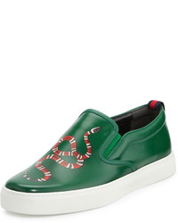 Zapatillas slip-on de cuero verdes