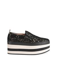 Zapatillas slip-on de encaje negras de Gucci
