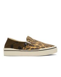 Zapatillas slip-on de leopardo marrón claro de R13