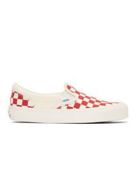 Zapatillas slip-on de lona a cuadros en rojo y blanco