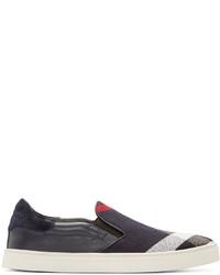 Zapatillas slip-on de lona azul marino de Burberry