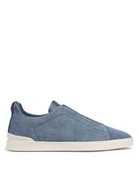 Zapatillas slip-on de lona azules de Ermenegildo Zegna