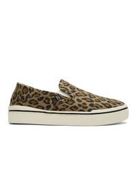 Zapatillas slip-on de lona de leopardo marrónes de R13