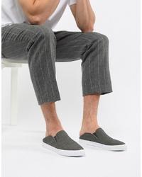Zapatillas slip-on de lona en gris oscuro de ASOS DESIGN