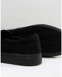 Zapatillas slip-on de lona estampadas negras de Asos