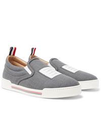 Zapatillas slip-on de lona grises de Thom Browne