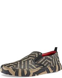 Zapatillas slip-on de lona marrónes