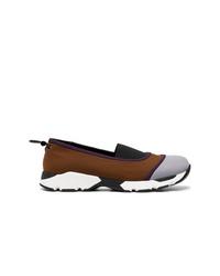 Zapatillas slip-on de lona marrónes de Marni