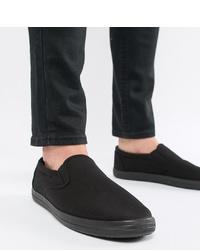 Zapatillas slip-on de lona negras de ASOS DESIGN