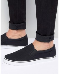 Zapatillas slip-on de lona negras de Asos