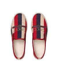 Zapatillas slip-on de lona rojas de Gucci