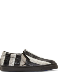 Zapatillas Slip-on de Rayas Horizontales Blancas y Negras de CNC Costume National