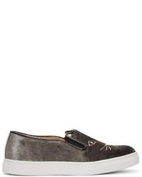 Zapatillas slip-on en gris oscuro de Charlotte Olympia