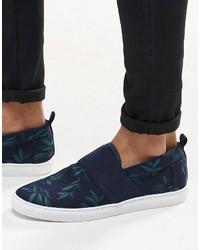 Zapatillas slip-on estampadas azul marino de Asos