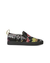 Zapatillas slip-on estampadas negras de Gucci