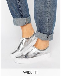 Zapatillas slip-on plateadas de Asos