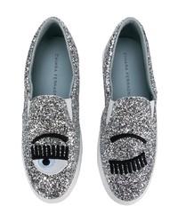 Zapatillas slip-on plateadas de Chiara Ferragni