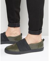 Zapatillas slip-on verde oliva de Asos