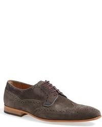 Zapatos brogue de ante en gris oscuro
