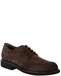 Zapatos brogue de ante en marrón oscuro