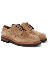 Zapatos brogue de ante marrón claro de Brunello Cucinelli