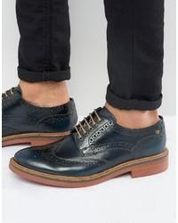 Zapatos brogue de cuero azul marino de Base London