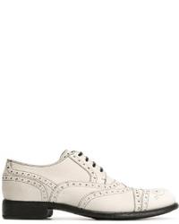Zapatos Brogue de Cuero Blancos de Dolce & Gabbana