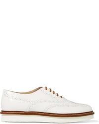Zapatos brogue de cuero blancos de Tod's