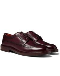 Zapatos brogue de cuero burdeos de Brunello Cucinelli