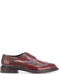 Zapatos brogue de cuero burdeos de Robert Clergerie