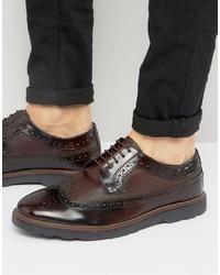 Zapatos brogue de cuero burdeos de Silver Street