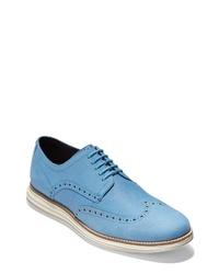 Zapatos brogue de cuero celestes