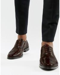 Zapatos brogue de cuero en marrón oscuro de ASOS DESIGN