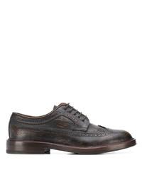 Zapatos brogue de cuero en marrón oscuro de Brunello Cucinelli