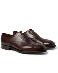 Zapatos brogue de cuero en marrón oscuro de Edward Green
